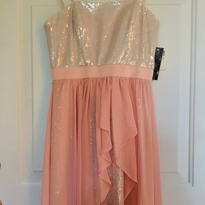 New Strapless Pale Pink Sequined Party Mini Dress